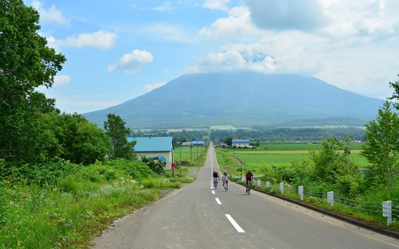 3 cyclists in green season Niseko with Mt. Youtei