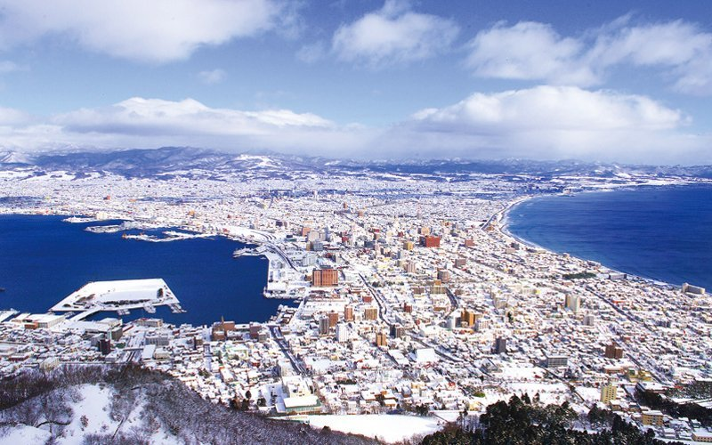 City of Hakodate covered with snow