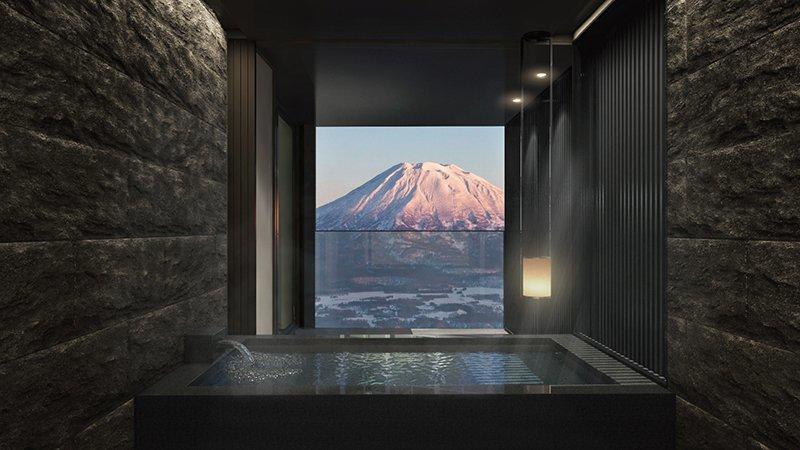 Tellus Niseko interior onsen yotei view