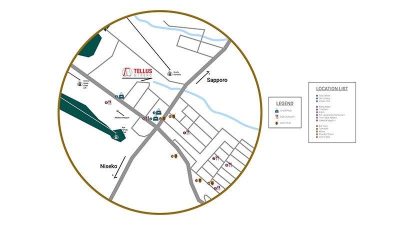 Tellus Niseko Hirafu Location