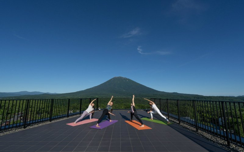 Yoga on the roof of Aspect Niseko