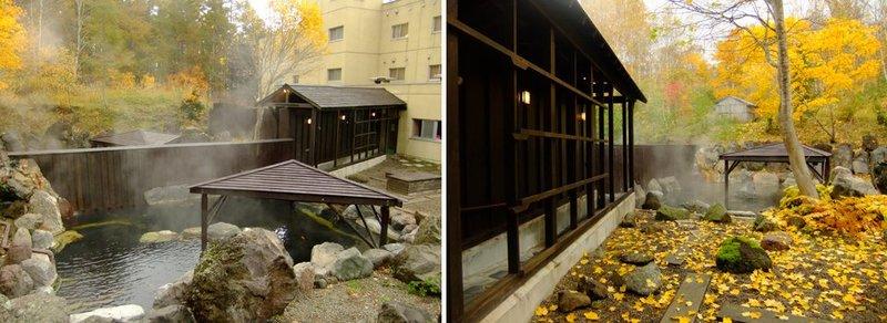 紅葉の季節のニセコアンヌプリ温泉湯心亭の露天風呂